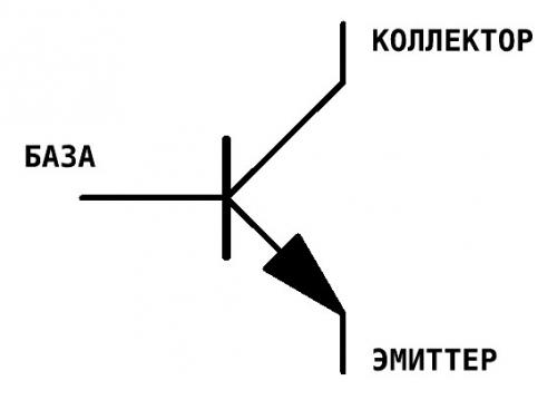 на схеме синвол транзистора